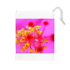 Bright Pink Hibiscus 2 Drawstring Pouches (large)