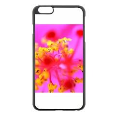 Bright Pink Hibiscus 2 Apple Iphone 6 Plus Black Enamel Case