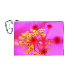 Bright Pink Hibiscus 2 Canvas Cosmetic Bag (M)