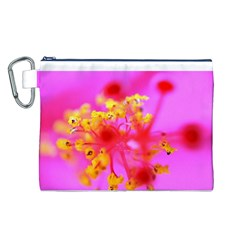 Bright Pink Hibiscus 2 Canvas Cosmetic Bag (L)