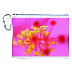 Bright Pink Hibiscus 2 Canvas Cosmetic Bag (XXL)