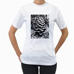 Pinecone Spiral Women s T-Shirt (White) (Two Sided)