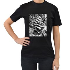 Pinecone Spiral Women s T Shirt (black) (two Sided)