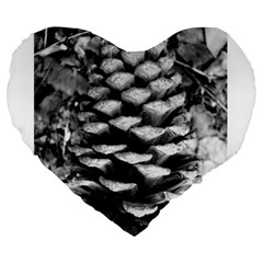 Pinecone Spiral Large 19  Premium Flano Heart Shape Cushions