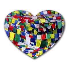 Tibetan Buddhist Prayer Flags Heart Mousepads