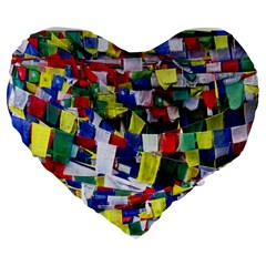Tibetan Buddhist Prayer Flags Large 19  Premium Flano Heart Shape Cushions