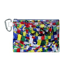Tibetan Buddhist Prayer Flags Canvas Cosmetic Bag (M)