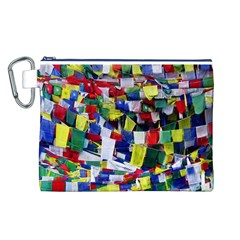 Tibetan Buddhist Prayer Flags Canvas Cosmetic Bag (L)
