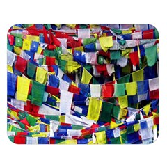 Tibetan Buddhist Prayer Flags Double Sided Flano Blanket (Large)