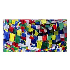 Tibetan Buddhist Prayer Flags Satin Shawl