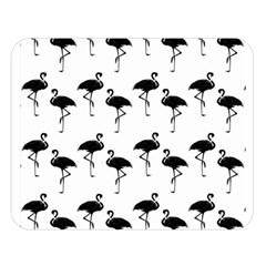 Flamingo Pattern Black On White Double Sided Flano Blanket (Large)