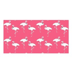 Flamingo White On Pink Pattern Satin Shawl