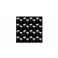 Flamingo Pattern White On Black  Satin Wrap