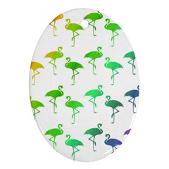 Flamingo Pattern Rainbow  Oval Ornament (two Sides)