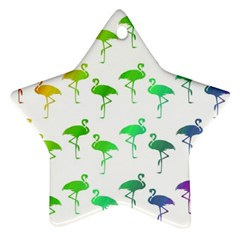Flamingo Pattern Rainbow  Star Ornament (two Sides)