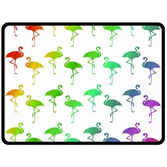Flamingo Pattern Rainbow  Fleece Blanket (Large)