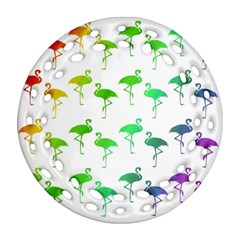 Flamingo Pattern Rainbow  Round Filigree Ornament (2Side)