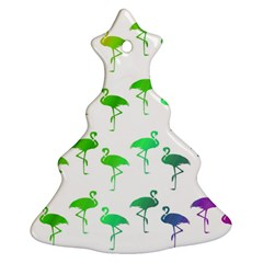 Flamingo Pattern Rainbow  Christmas Tree Ornament (2 Sides)