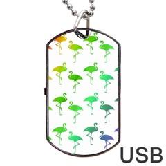 Flamingo Pattern Rainbow  Dog Tag USB Flash (One Side)