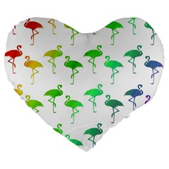 Flamingo Pattern Rainbow  Large 19  Premium Flano Heart Shape Cushions