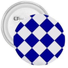 Harlequin Diamond Pattern Cobalt Blue White 3  Buttons