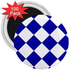 Harlequin Diamond Pattern Cobalt Blue White 3  Magnets (100 Pack)