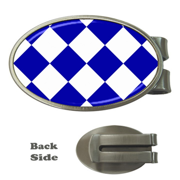 Harlequin Diamond Pattern Cobalt Blue White Money Clips (Oval)