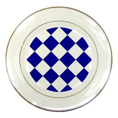 Harlequin Diamond Pattern Cobalt Blue White Porcelain Plates