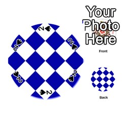 Harlequin Diamond Pattern Cobalt Blue White Playing Cards 54 (Round)