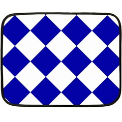 Harlequin Diamond Pattern Cobalt Blue White Fleece Blanket (Mini)