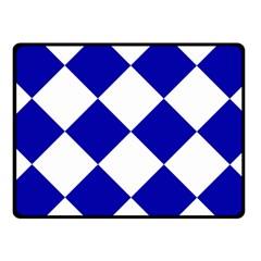 Harlequin Diamond Pattern Cobalt Blue White Fleece Blanket (Small)