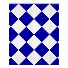Harlequin Diamond Pattern Cobalt Blue White Shower Curtain 60  x 72  (Medium)