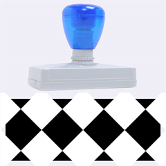 Harlequin Diamond Pattern Cobalt Blue White Rubber Address Stamps (XL)