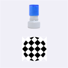 Harlequin Diamond Pattern Cobalt Blue White Rubber Round Stamps (Small)