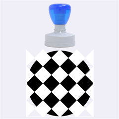 Harlequin Diamond Pattern Cobalt Blue White Rubber Round Stamps (Large)