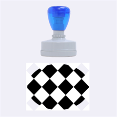 Harlequin Diamond Pattern Cobalt Blue White Rubber Oval Stamps