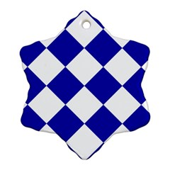 Harlequin Diamond Pattern Cobalt Blue White Ornament (snowflake)