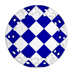 Harlequin Diamond Pattern Cobalt Blue White Round Filigree Ornament (2Side)