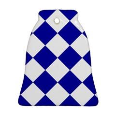 Harlequin Diamond Pattern Cobalt Blue White Bell Ornament (2 Sides)
