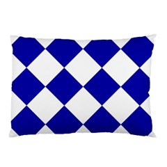 Harlequin Diamond Pattern Cobalt Blue White Pillow Cases (Two Sides)