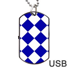 Harlequin Diamond Pattern Cobalt Blue White Dog Tag USB Flash (One Side)