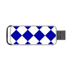 Harlequin Diamond Pattern Cobalt Blue White Portable USB Flash (One Side)