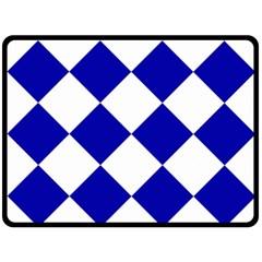 Harlequin Diamond Pattern Cobalt Blue White Double Sided Fleece Blanket (large)