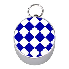 Harlequin Diamond Pattern Cobalt Blue White Mini Silver Compasses
