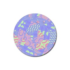 Girls Bright Pastel Abstract Blue Pink Green Rubber Coaster (round)