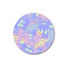 Girls Bright Pastel Abstract Blue Pink Green Magnet 3  (round)