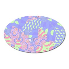 Girls Bright Pastel Abstract Blue Pink Green Magnet (oval)