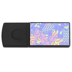 Girls Bright Pastel Abstract Blue Pink Green Usb Flash Drive Rectangular (4 Gb)