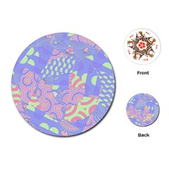Girls Bright Pastel Abstract Blue Pink Green Playing Cards (Round)
