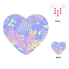 Girls Bright Pastel Abstract Blue Pink Green Playing Cards (heart)